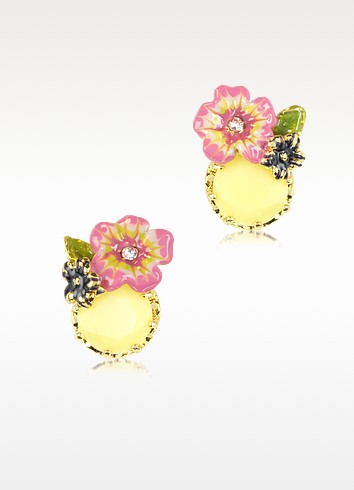 Eclatante Discretion Oval Stone and Flowers Earrings - Les Nereides