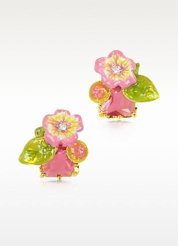 Eclatante Discretion Square Stone and Flower Earrings - Les Nereides
