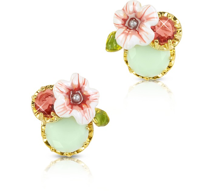 Eclatante Discretion Round Stone, Flower and Strass  Earrings - Les Néréides