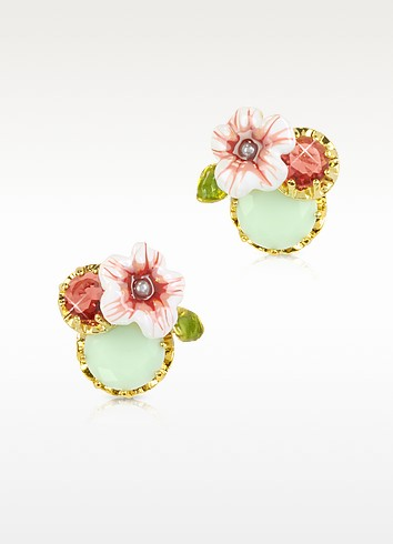 Eclatante Discretion Round Stone, Flower and Strass  Earrings - Les Nereides / レ ネレイド