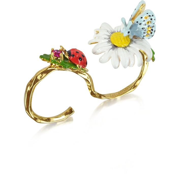 Champetre Secret Ring w/Daisy, Butterfly and Ladybug - Les Nereides