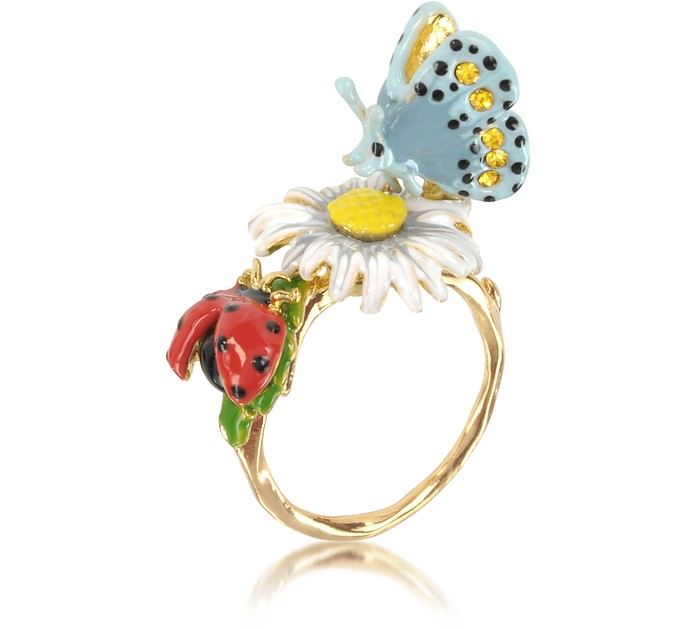 Champetre Daisy, Ladybug and Butterfly Ring - Les Nereides