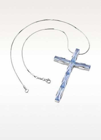 Blue Sterling Silver Cross Necklace - Nuovegioie