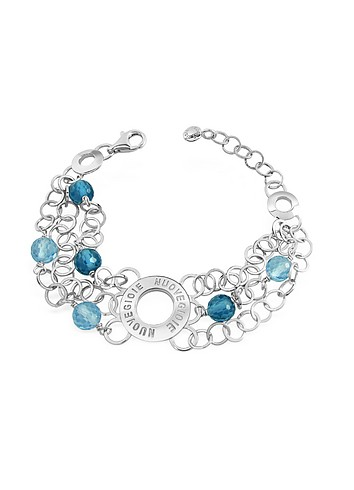 Nuovegioie Sterling Silver and Blue Stones Chain Bracelet