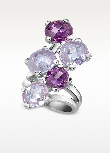 Lavender Multi-stones Sterling Silver Fashion Ring - Nuovegioie