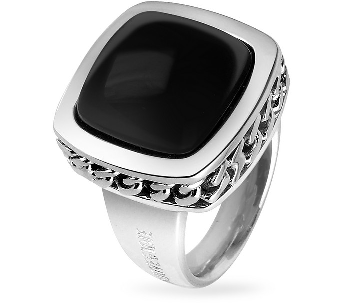 Black Square Onyx Sterling Silver Fashion Ring - Nuovegioie
