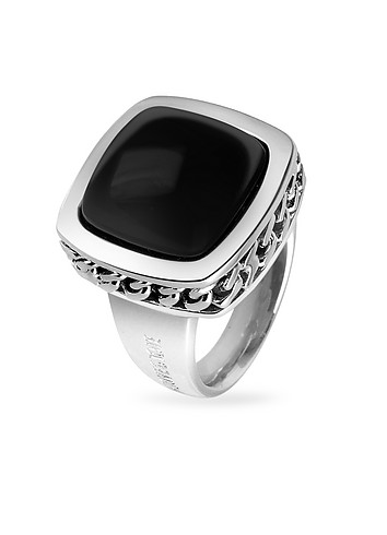 Nuovegioie Black Square Stone Sterling Silver Fashion Ring :  stylish italian jewelry accessories jewellery