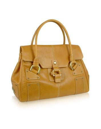 Foto der Handtasche Nicoli Colt - Handtasche aus italienischem Kalbsleder in camelfarben