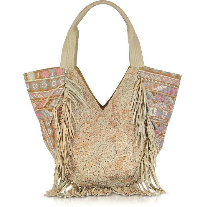 Nana Embroidered Canvas an Leather Hobo Bag - Antik Batik