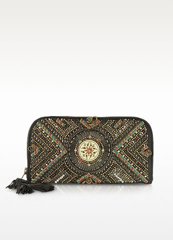 Wanjo Black Suede Wallet Clutch - Antik Batik