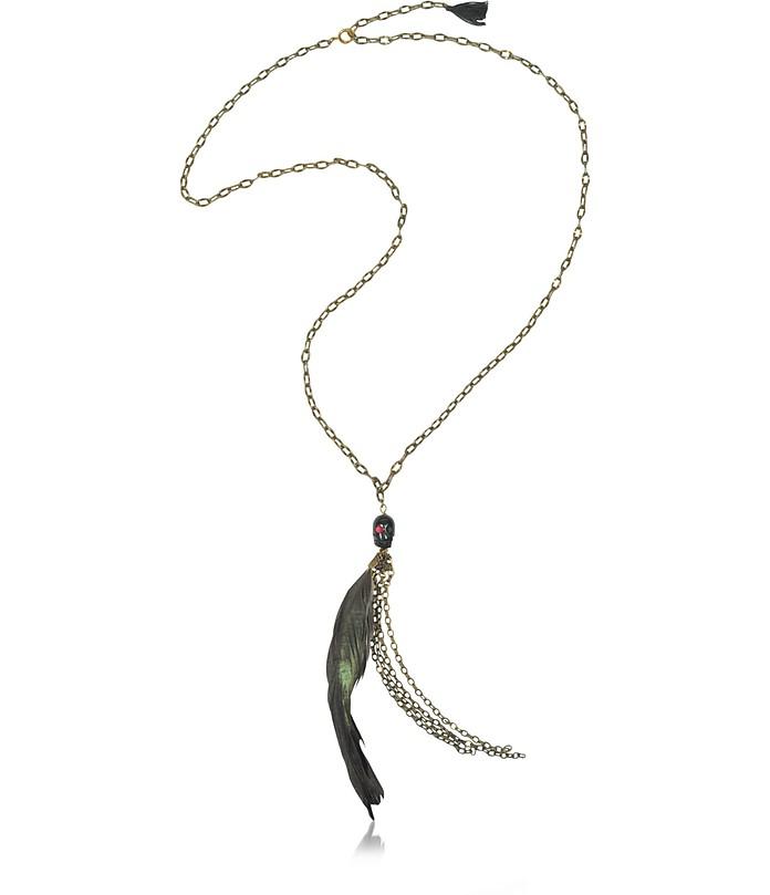 Nocera - Ожерелье с Черепом и Пером - Antik Batik