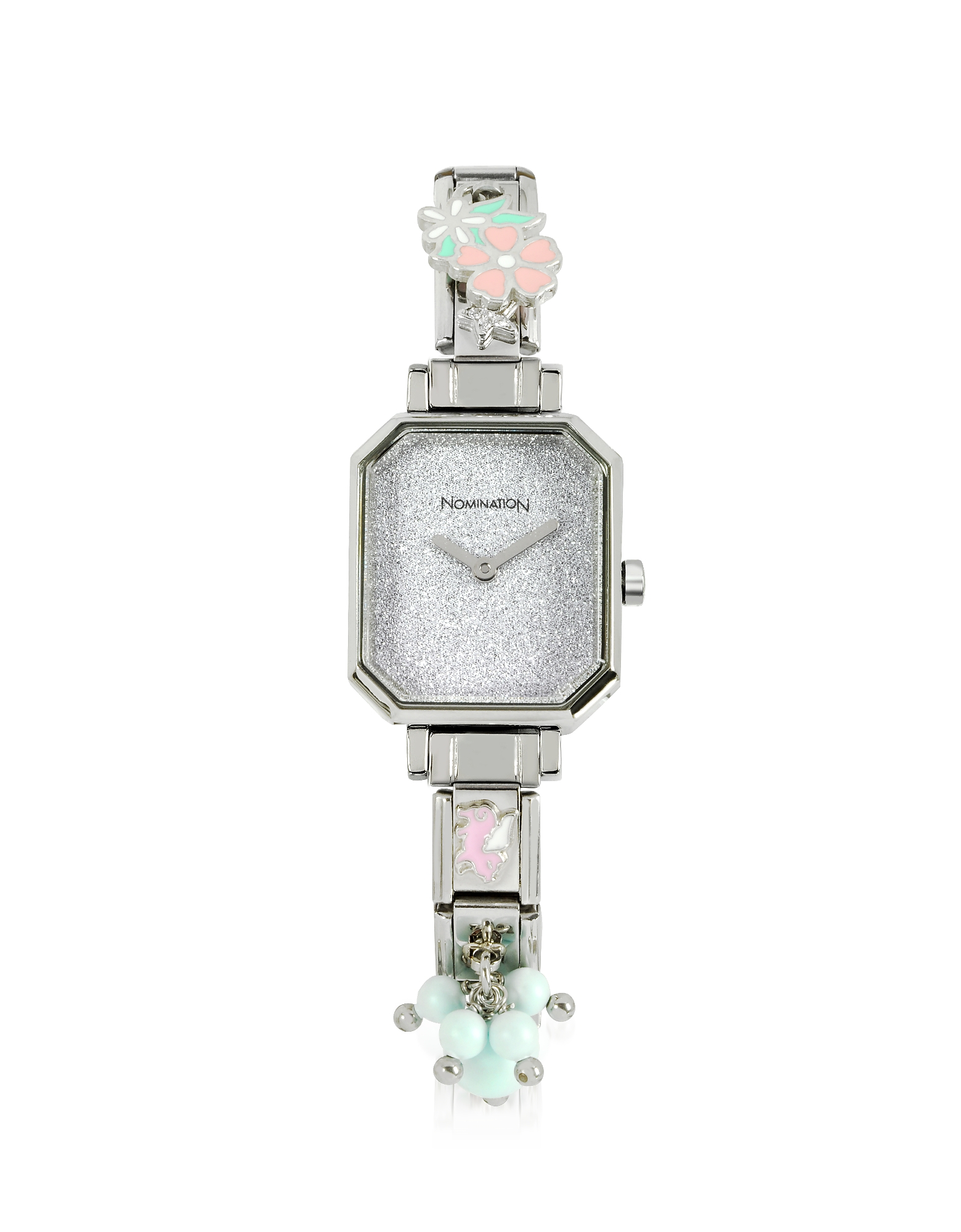 Silver Plated Stainless Steel Composable Women's Watch w/Crystals