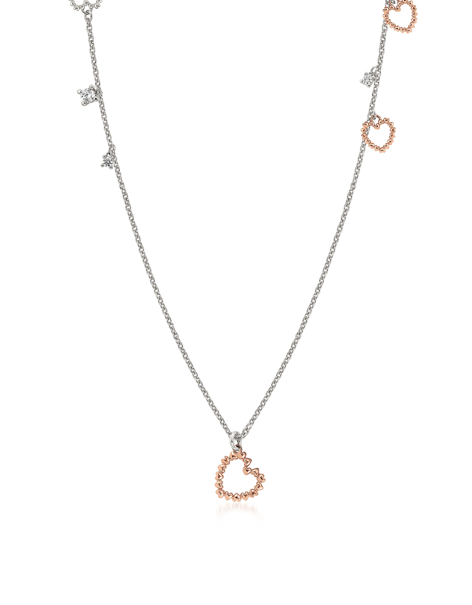 Nomination  Necklaces Sterling Silver and Cubic Zirconia Heart Charm Long Ne..