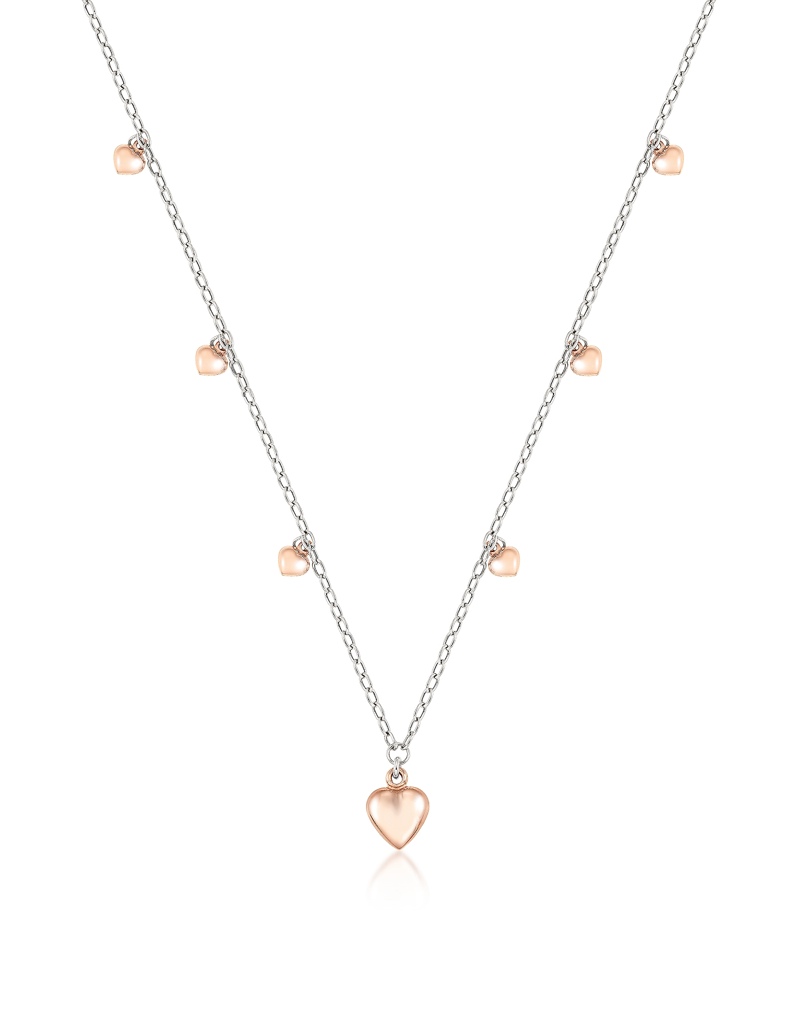 NOMINATION | Nomination Designer Necklaces, Sterling Silver Mini Hearts Charm Necklace | Goxip