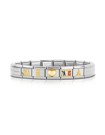 Classic I Love Paris Gold and Stainless Steel Bracelet w/ Cubic Zirconia