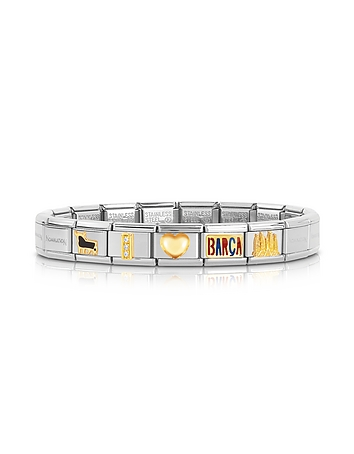 Classic I Love Barca Gold and Stainless Steel Bracelet