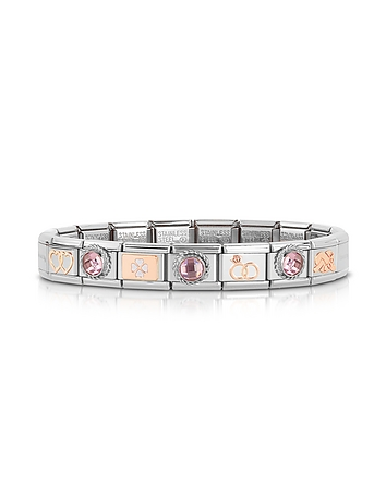 Classic Amore Rose Gold and Stainless Steel Bracelet w/Gemstone