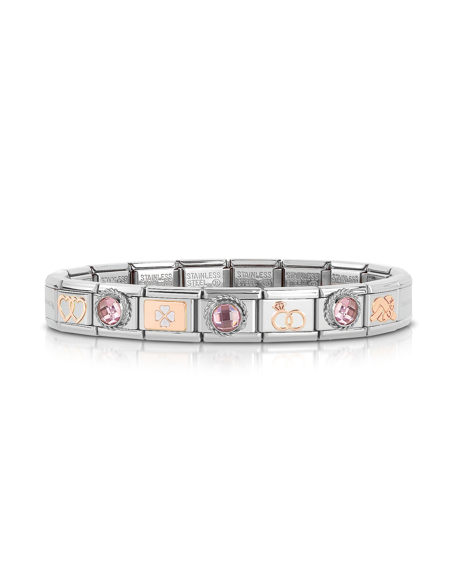 Nomination Bracelets, Classic Amore Rose Gold and Stainless Steel Bracelet w/Gemstone