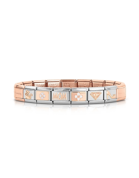 Nomination Classic Mom - Bracelet en Or Rose 9 cts et Acier Inoxydable