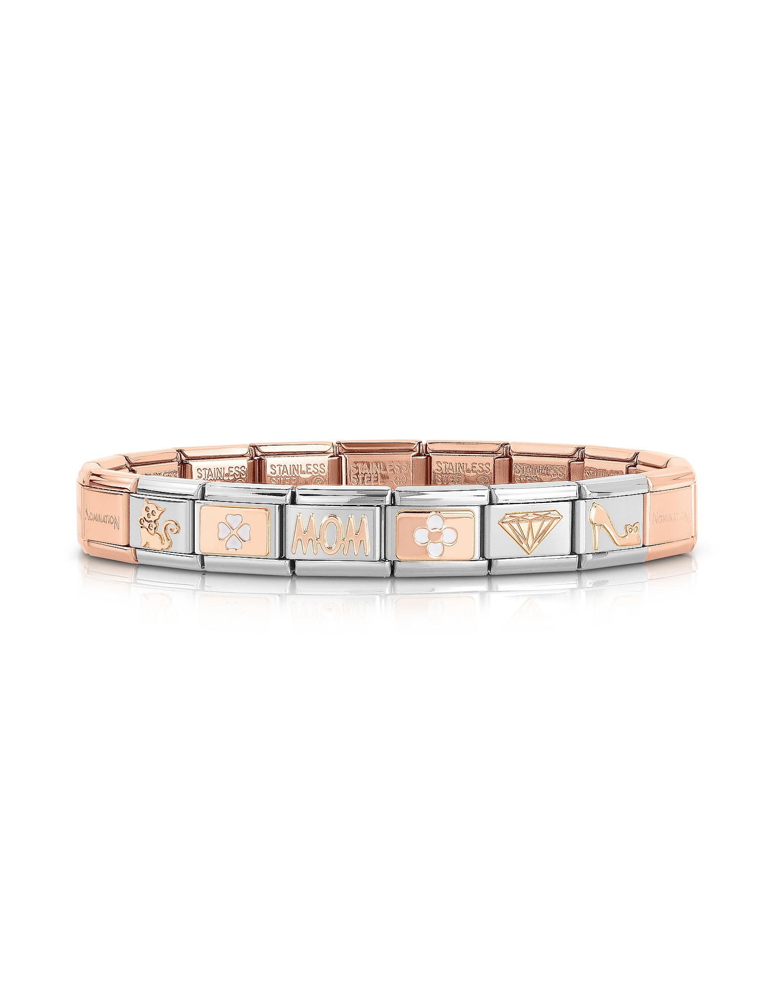 Nomination Bracelets, Classic Mom Rose Gold and Stainless Steel Bracelet