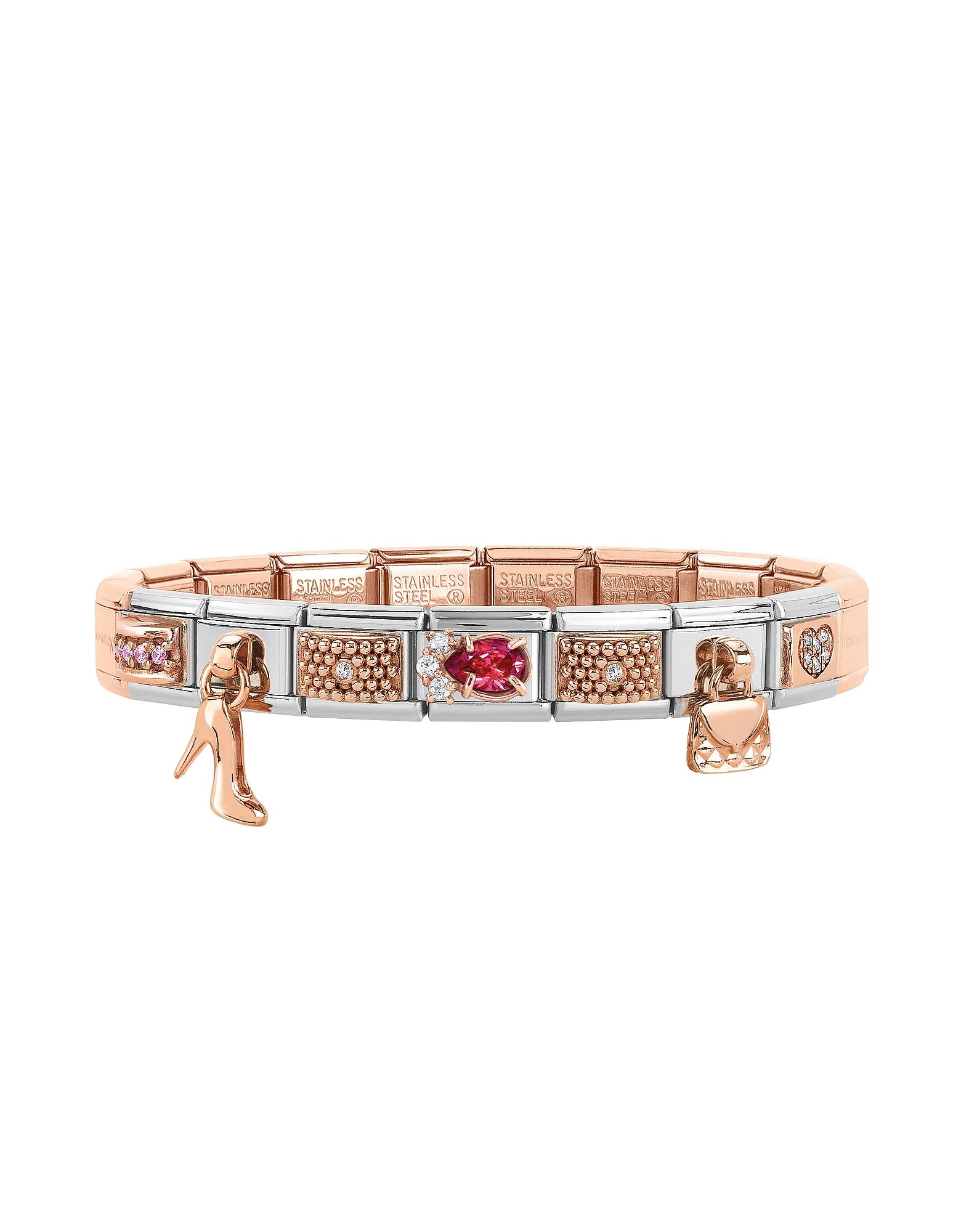 Фото Couture&Charms - Классический Браслет из Розового Золота и Нержавеющей Стали с Кубиками Циркония. Купить с доставкой