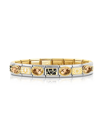 Classic Elegance Gold and Stainless Steel Bracelet w/Gemstone