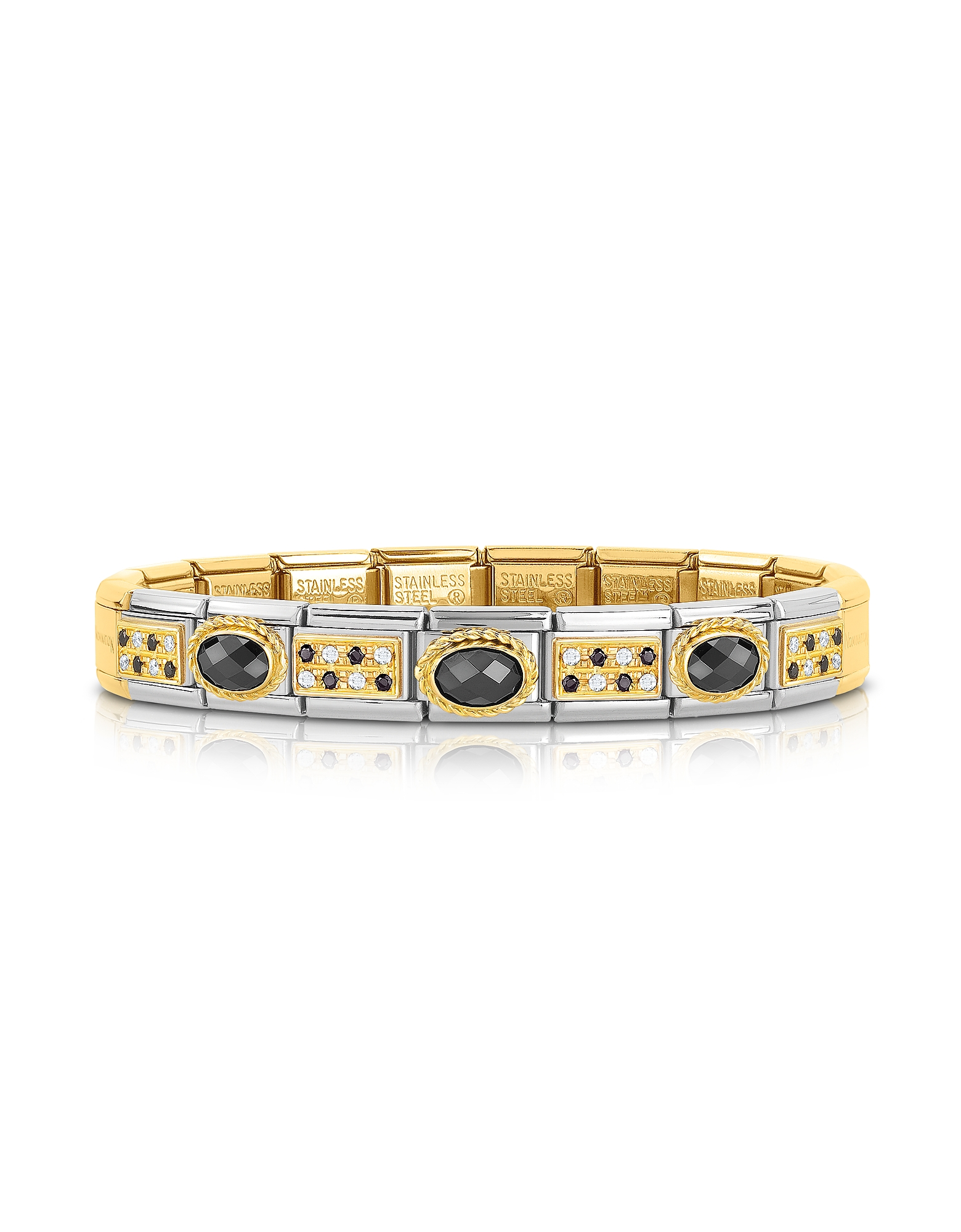 Nomination Bracelets, Classic Pavés Golden Stainless Steel Bracelet w/Black Stone and Cubic Zirconi