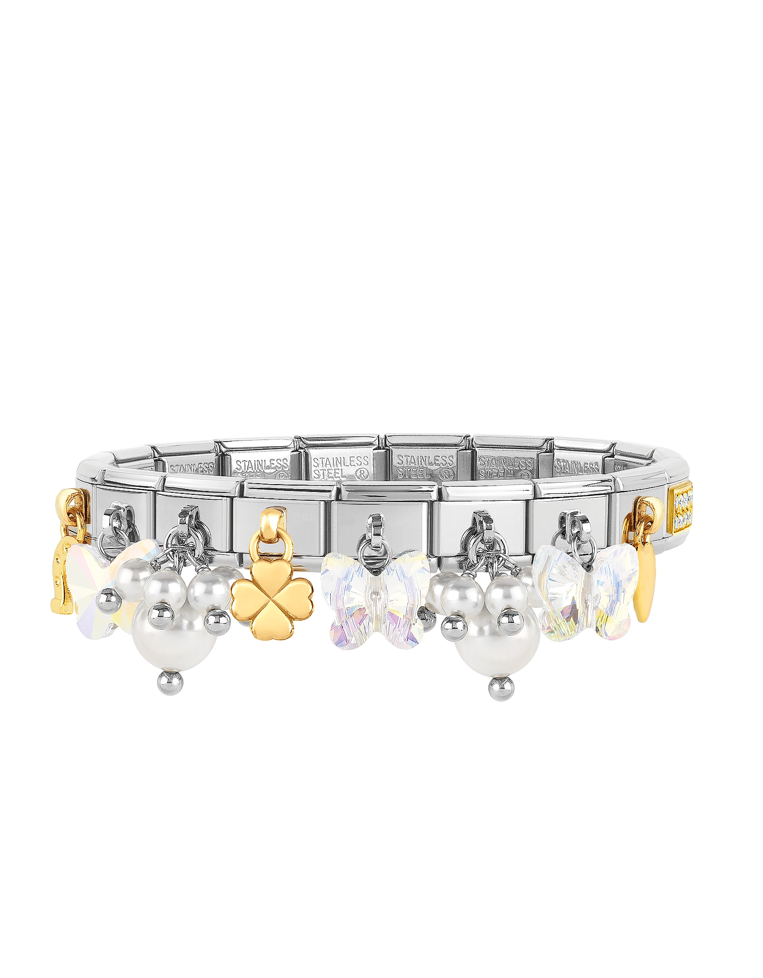 Classic Bright Charms Gold and Stainless Steel Bracelet w/Crystals and Pearls
