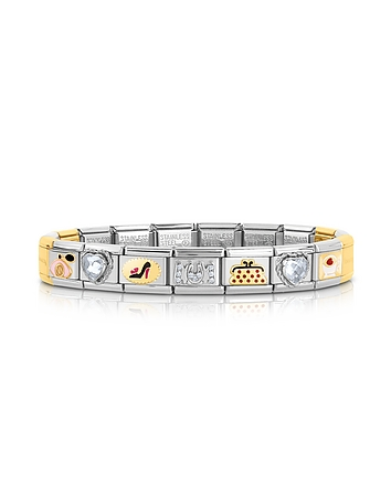 Classic Très Chic Golden Stainless Steel Bracelet w/Crystals