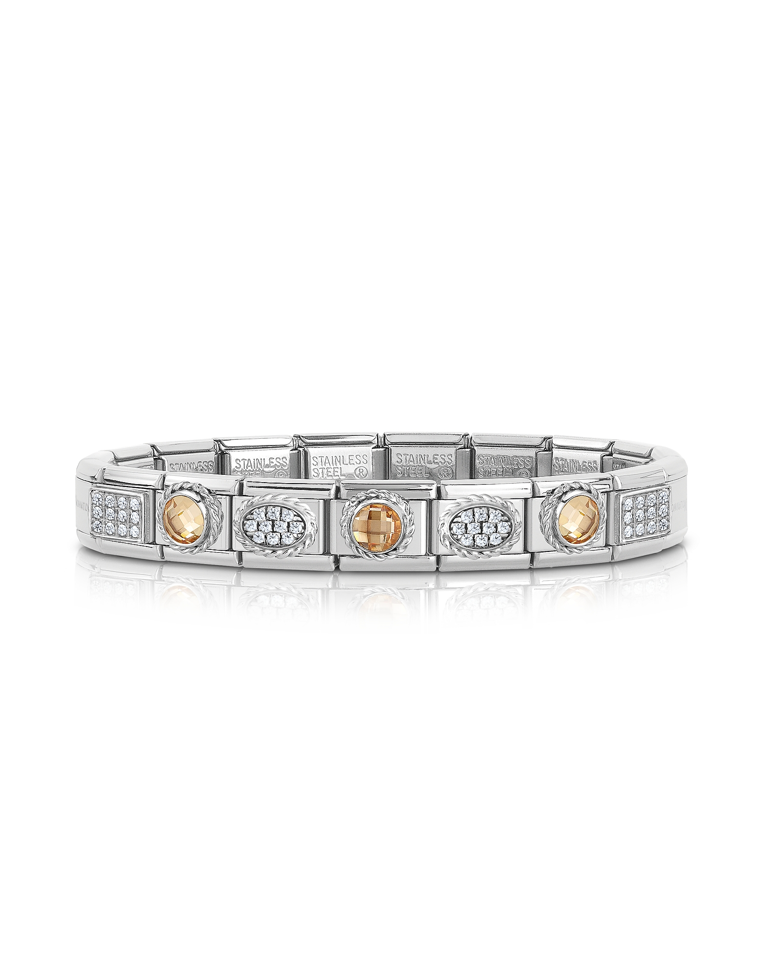 Nomination Bracelets, Classic Champagne Sterling Silver and Stainless Steel Bracelet w/Cubic Zirconi