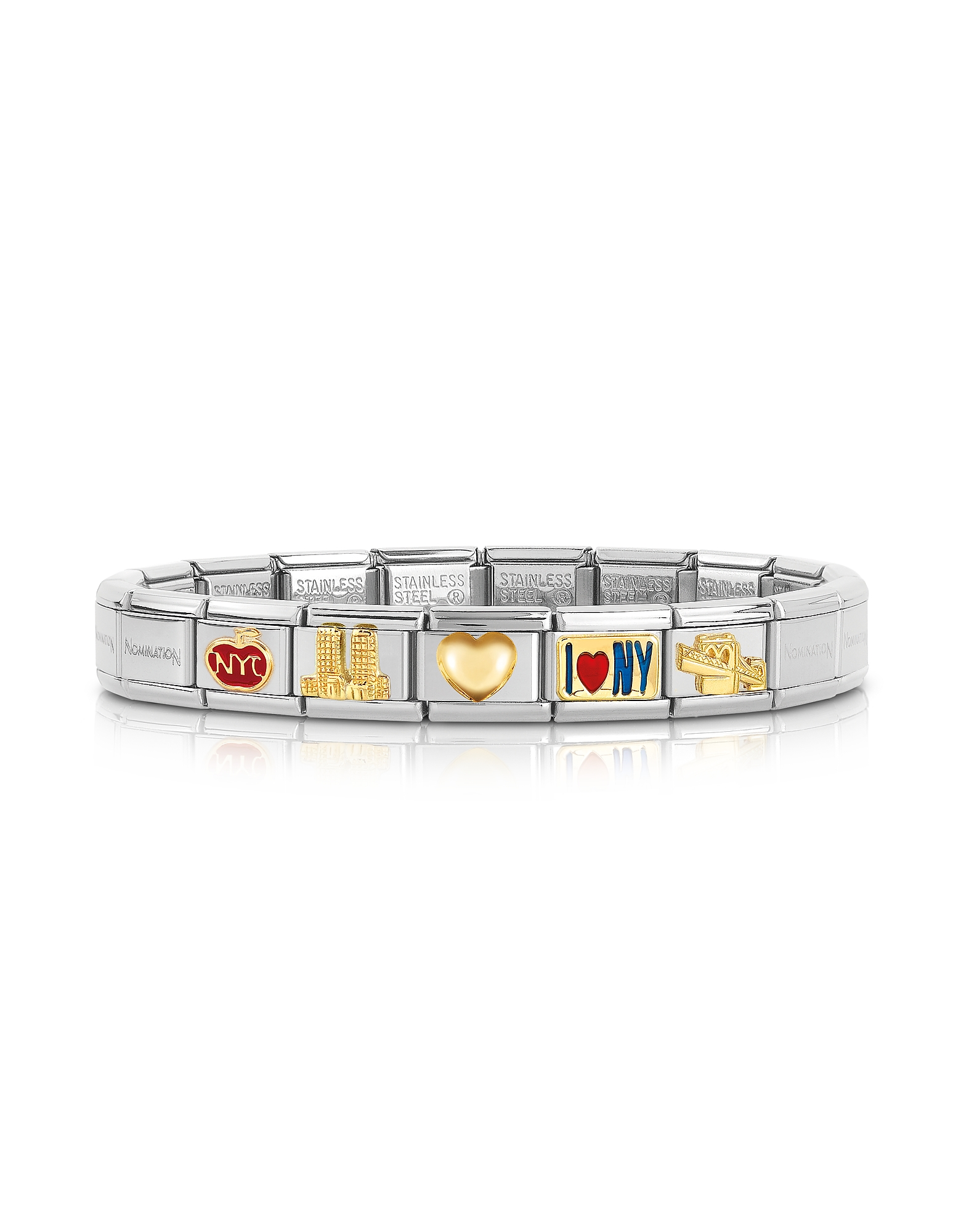Nomination Bracelets, Classic I Love N.Y Golden Stainless Steel Bracelet