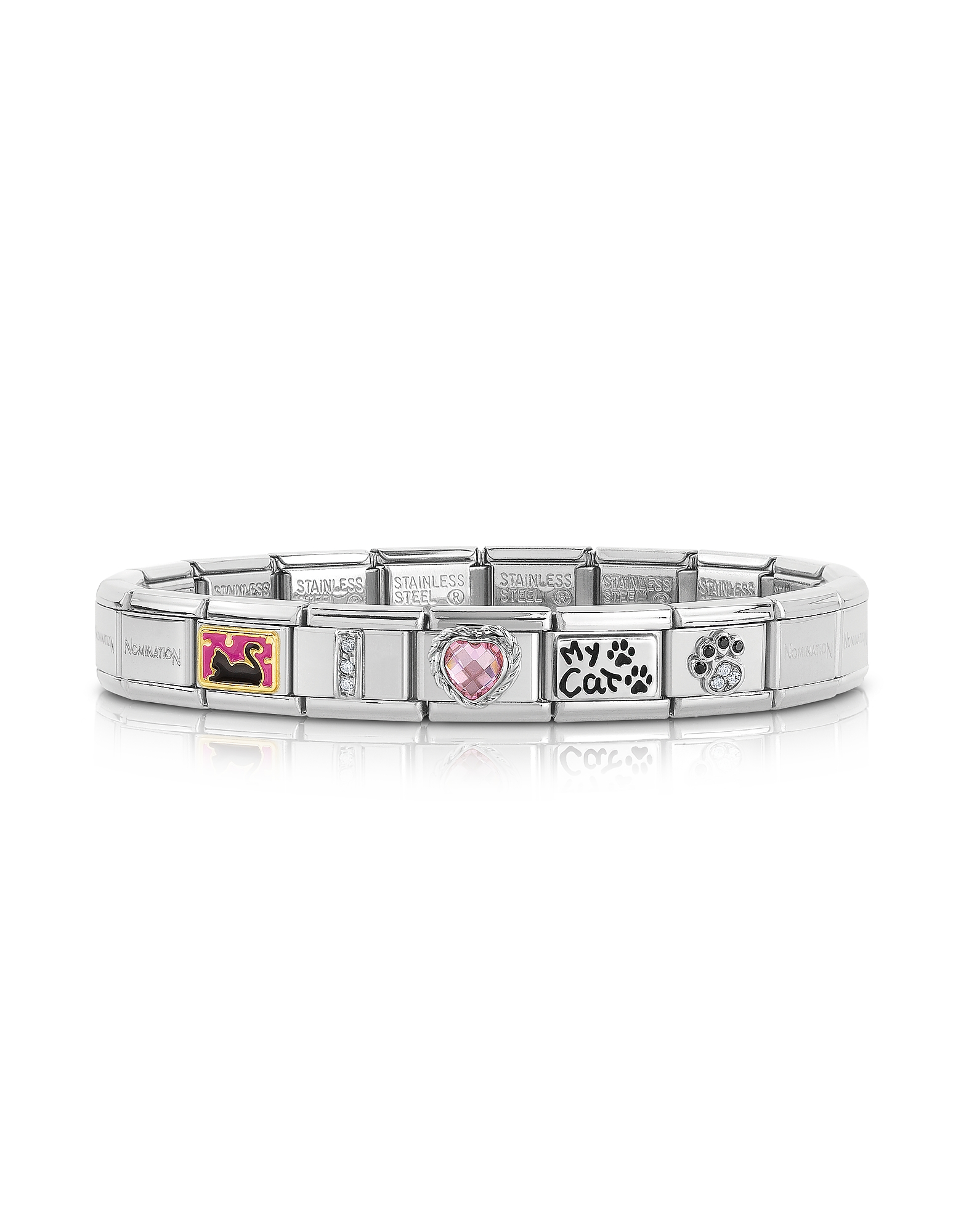 Nomination Bracelets, Classic I Love My Cat Stainless Steel Bracelet w/Pink Crystal Heart