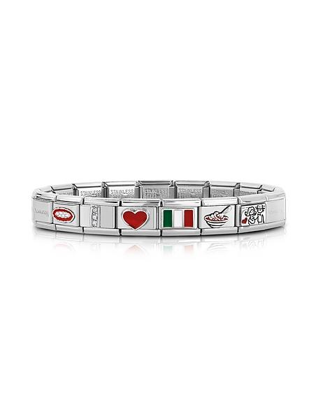Nomination Classic That's Italy - Bracelet en Acier Inoxydable et Argent avec Symboles en Émail