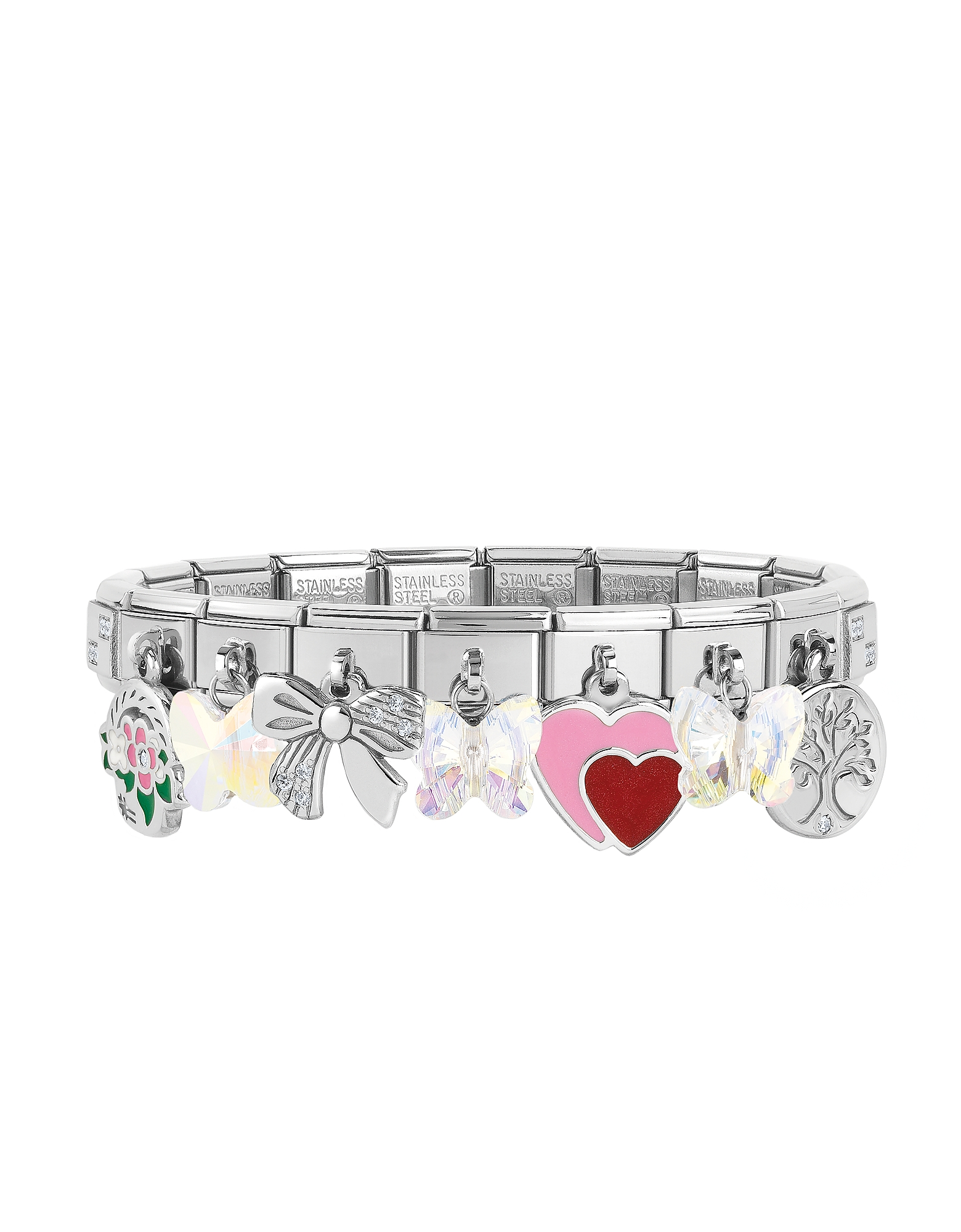 Nomination Bracelets, Classic Sweet Charms Sterling Silver and Stainless Steel Bracelet