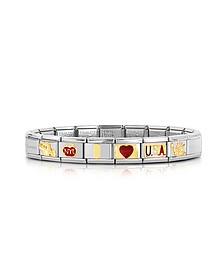 Classic I Love USA Golden Stainless Steel Bracelet - Nomination