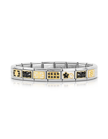 Classic Elegance Gold and Stainless Steel Bracelet w/Black Gemstone