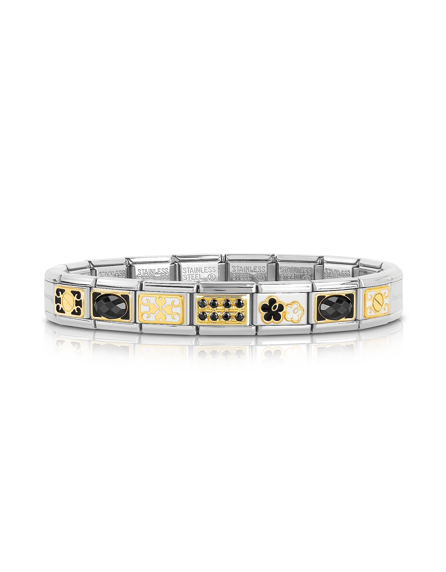 Nomination Bracelets, Classic Elegance Gold and Stainless Steel Bracelet w/Black Gemstone