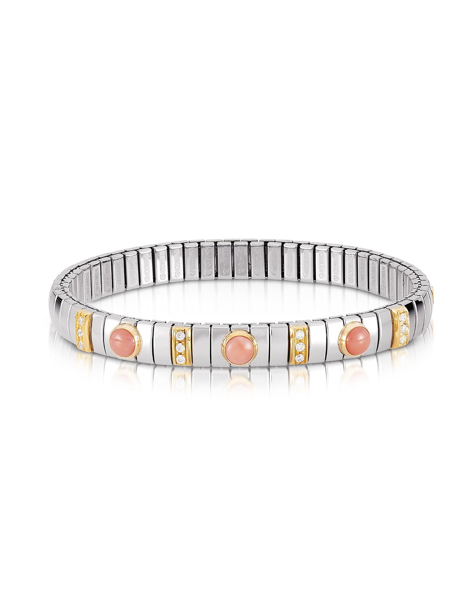 Nomination Bracelets, Golden Stainless Steel Women's Bracelet w/Pink Corals and Cubic Zirconia