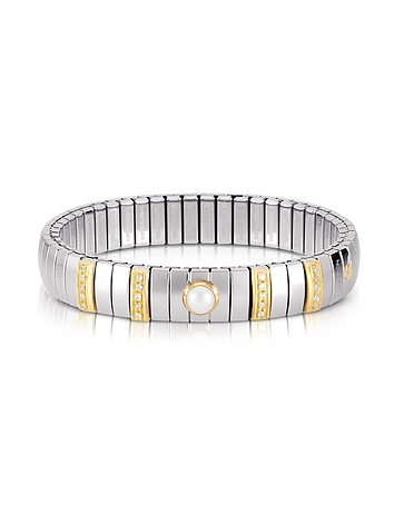 Nomination - Single Pearl Golden Stainless Steel Women's Bracelet w/Cubic Zirconia