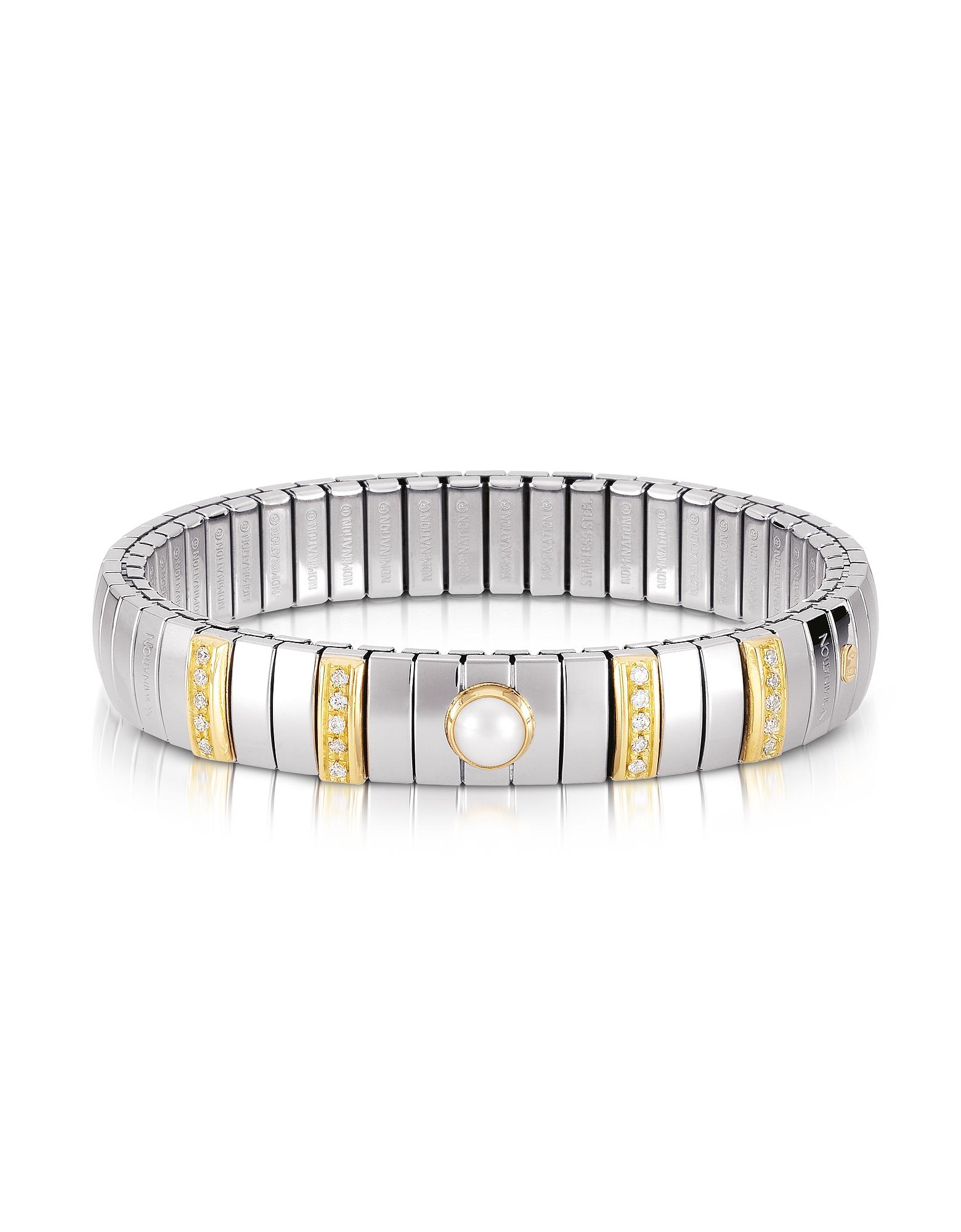 Nomination Bracelets, Single Pearl Golden Stainless Steel Women's Bracelet w/Cubic Zirconia