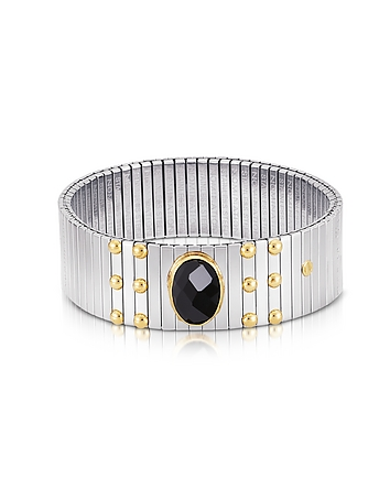 Nomination - Single Black Cubic Zirconia Stainless Steel w/Golden Studs Women's Bracelet