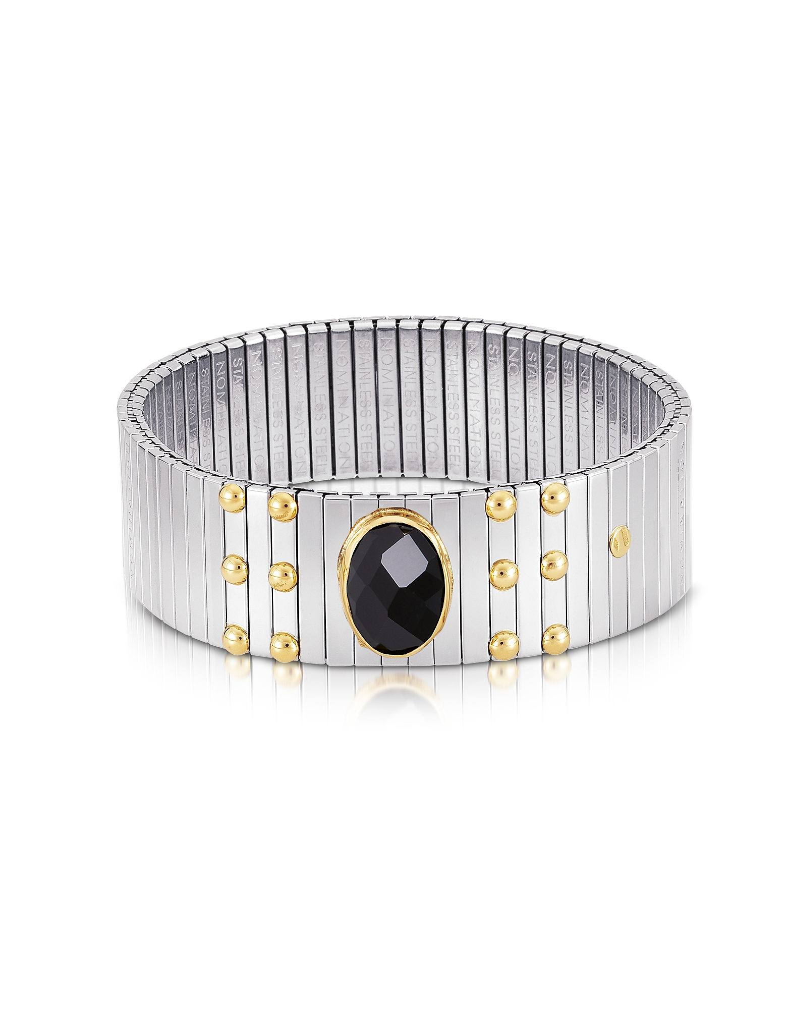 Nomination Bracelets, Single Black Cubic Zirconia Stainless Steel w/Golden Studs Women's Bracelet