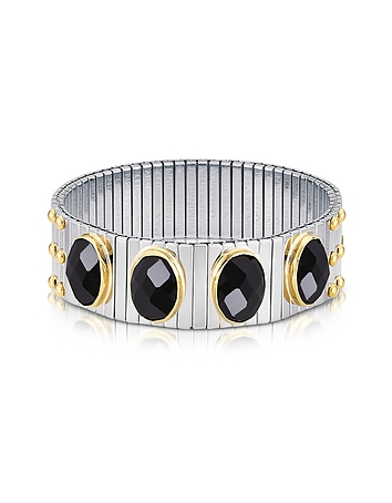 Nomination - Four Black Cubic Zirconia Stainless Steel w/Golden Studs Women's Bracelet
