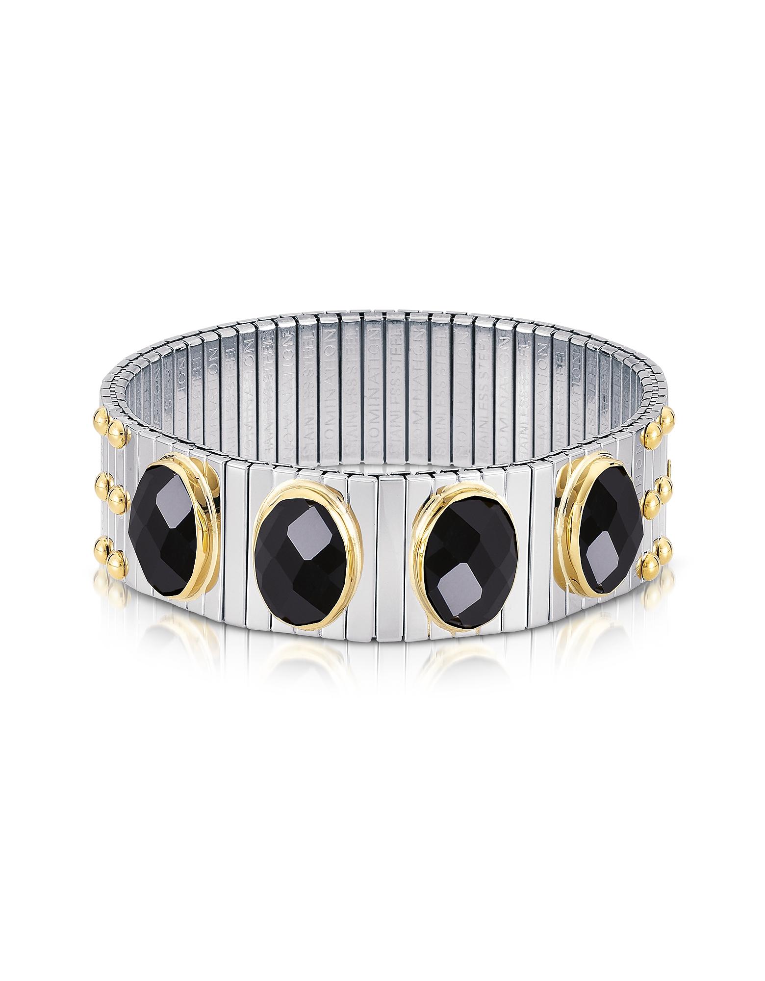 Nomination Bracelets, Four Black Cubic Zirconia Stainless Steel w/Golden Studs Women's Bracelet