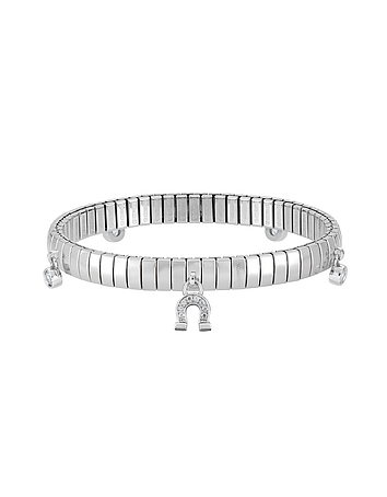 Nomination - Stainless Steel Women's Bracelet w/Sterling Silver Charms and Cubic Zirconia