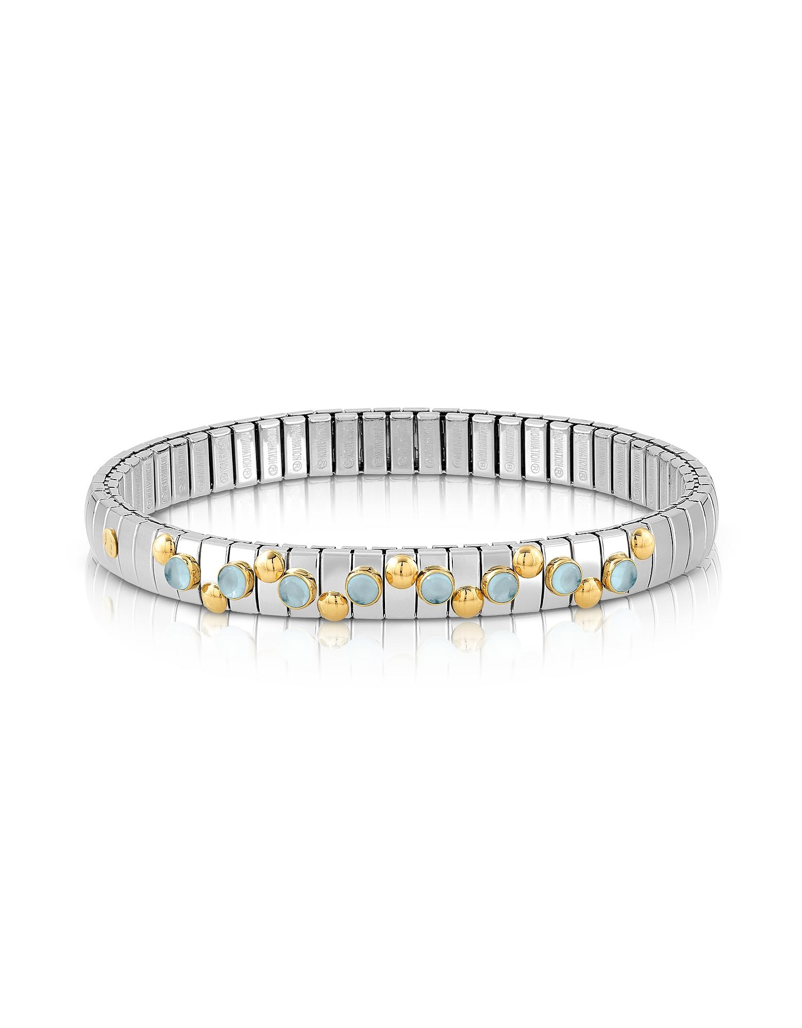 Stainless Steel Women's Bracelet w/Blue Topaz Beads