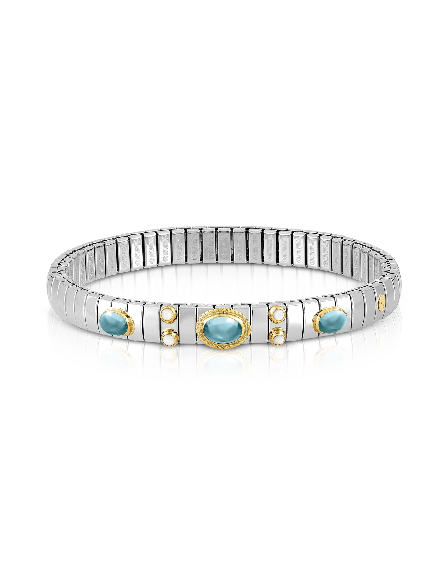 Stainless Steel Women's Bracelet w/Light Blue Topaz Oval Beads
