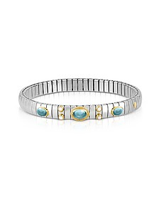 Stainless Steel Women's Bracelet w/Light Blue Topaz Oval Beads - Nomination