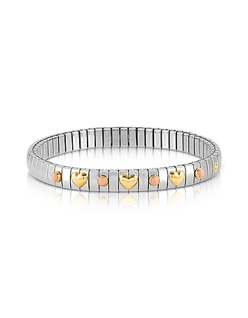 Nomination - Stainless Steel Women's Bracelet w/Golden Hearts and Coral Beads