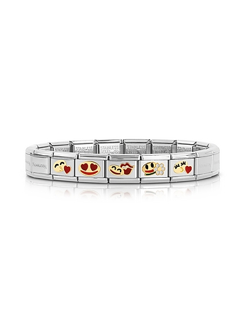 Nomination - Stainless Steel Women's Bracelet w/Golden Emoticons